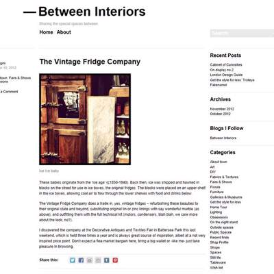 "In the Press - Between Interiors (<a href=""http://betweeninteriors.com/2012/10/10/the-vintage-fridge-company/"" class=""text-primary"" target=""_blank"">VIEW</a>)"