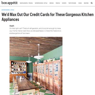 "In the Press - Bon Appétit magazine (<a href=""http://www.bonappetit.com/entertaining-style/article/luxury-refrigerator-stove-kitchen-appliances"" class=""text-primary"" target=""_blank"">VIEW</a>)"