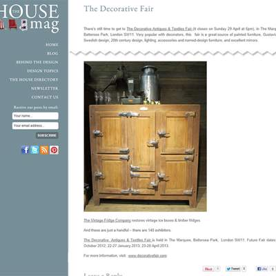 "In the Press - The House Mag (<a href=""http://www.thehousemag.com/decorative_fair"" class=""text-primary"" target=""_blank"">VIEW</a>)"