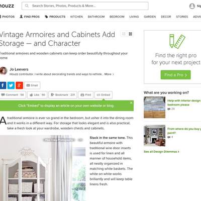 "In the Press - Houzz (<a href=""https://www.houzz.com/uk/ideabooks/46005488/list/vintage-armoires-and-cabinets-add-storage-and-character"" class=""text-primary"" target=""_blank"">VIEW</a>)"