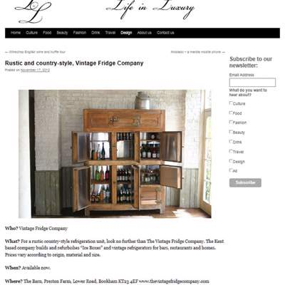 "In the Press - Life in Luxury (<a href=""http://lifeinluxury.co.uk/rustic-and-country-style-vintage-fridge-company/"" class=""text-primary"" target=""_blank"">VIEW</a>)"