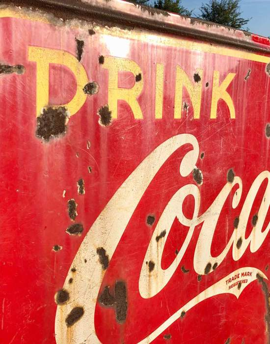 #V04: 1950's Coca Cola Advertising Sign - Side close up